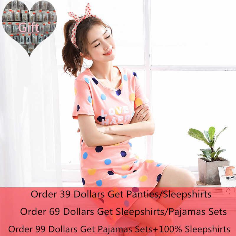 a5a7a79378 Summer New Knitted Cotton Women s Sleep Lounge Dress Big Girls Cute  Sleepwear Nightgowns Sleepshirts Night wear