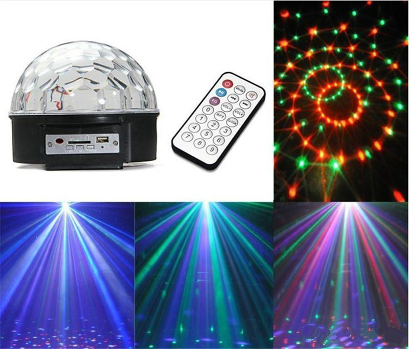 LED MP3 DJ Disco Party Club DMX512 Crystal Magic Ball Stage 18W RGB Light<br>