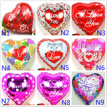Wholesale 100pcs/lot Mix Love theme foil balloons mylar ballons Love Heart wedding/Valentine's day helium baloes love globos