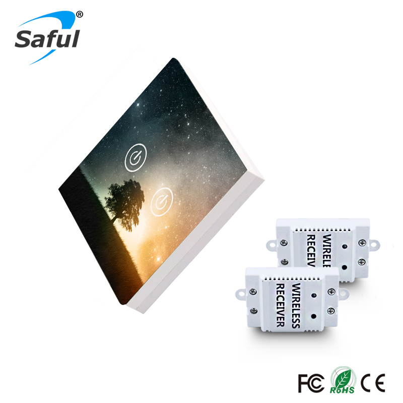 Saful 2 gang 2 Way Remote Control Touch Switch Painting DIY Glass Design Wireless Touch Switch Free Shipping<br>