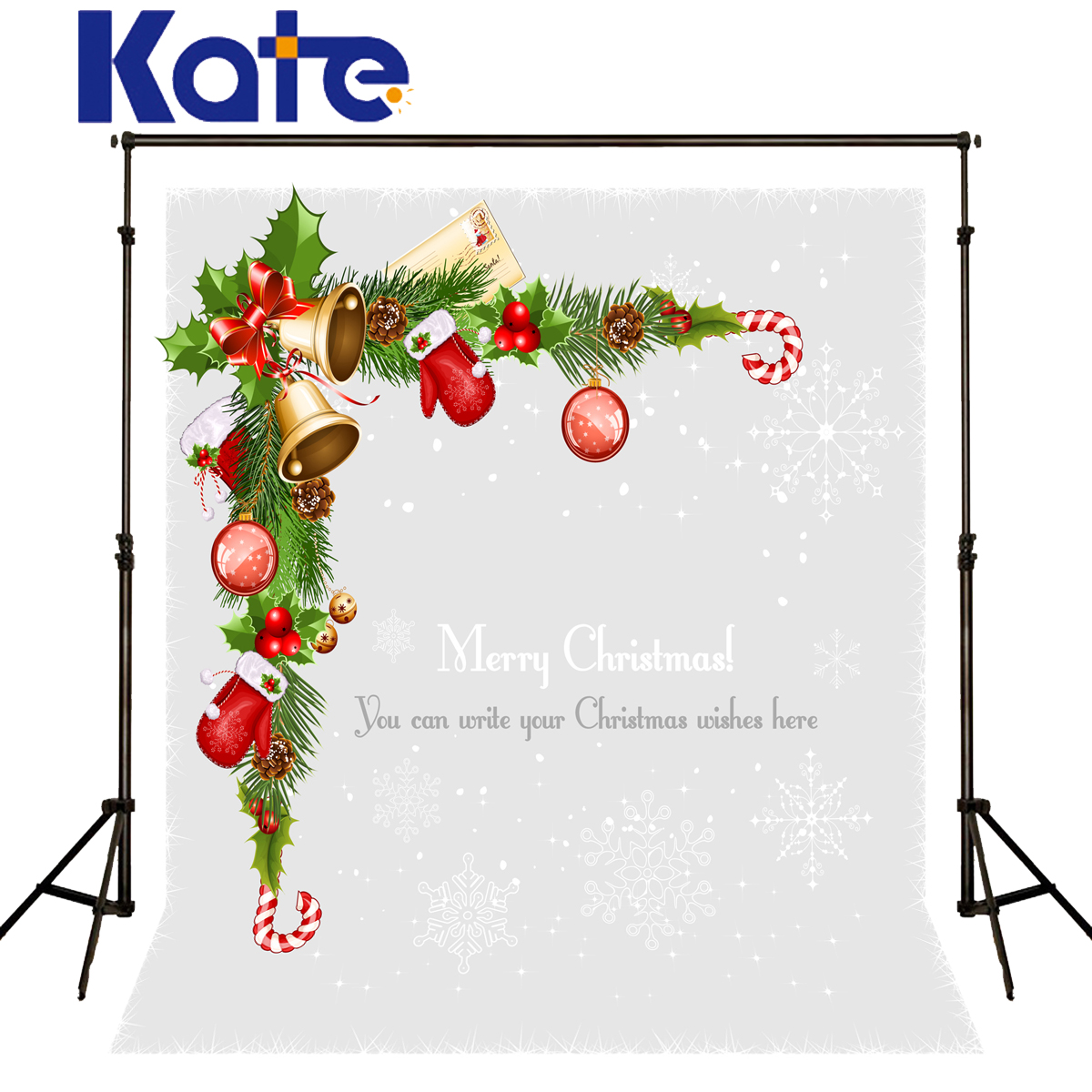 Kate Backdrop Christmas Gold Bell Red Glove Fondo Navidad Snowflake Spot Fond Photographine Noel Backrounds For Photo Studio<br><br>Aliexpress