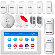 "Kerui K7 WIFI GSM Alarm System 7"" Touch Screen TFT Color Display Home Alarm System Security Wireless Smoke Detector flash siren"