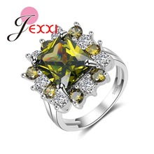 JEXXI Unusual Square Anel Feminino Unique Chartreuse Crystal 925 Sterling Silver Rings for Women Engagement Jewelry