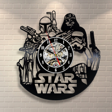 Free Shipping 1Piece Star Wars Retro CD Vinyl Record Wall Clock Unique Decorative Hanging Clocks Modern Wall Art Creative Gifts