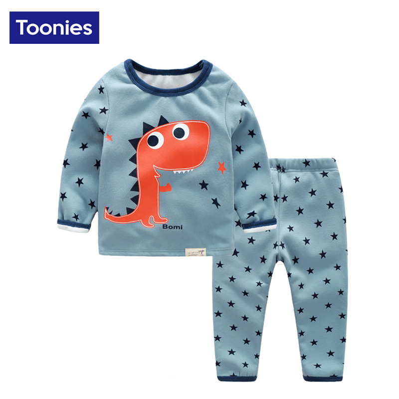 2017 New Autumn Winter Children 2Pcs/Set Warm Suits Childrens Clothing Set Kids Cute Cartoon Prionted Boys Hoody+ Pants Suits<br><br>Aliexpress