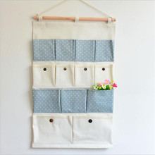 Cotton dot Storage Bags 13 pocket wall hanging bags multi-layer fabric debris storage organizer pastoral for Door ALLDA126