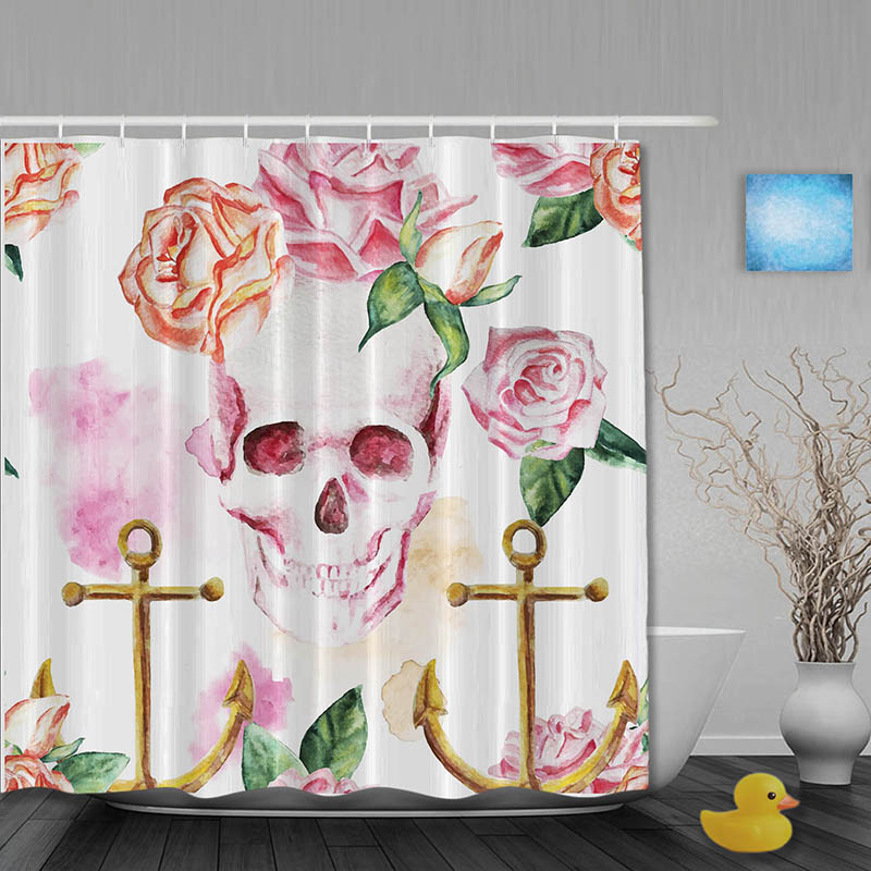 Vintage Skull Shower Curtain Rustic Anchor Rose Bathroom Shower ...