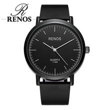 RENOS Watches Women With Exquisite Box Simple Black White Wristwatches Fashion Casual Women's Watch relogio masculino relogio(China)