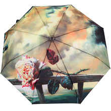 High Quality Fancy Umbrellas 3 Folding Oil Painting Umbrella Fashion Parapluie Reine Des Neiges Painting Luxury(China)