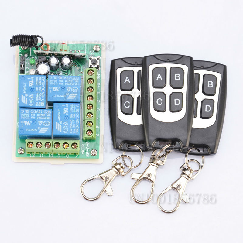 DC12V 4CH RF Wireless Remote Control Switch System Receiver &amp;3 Transmitter Momentary Toggle Latched LED SMD ON OFF<br><br>Aliexpress
