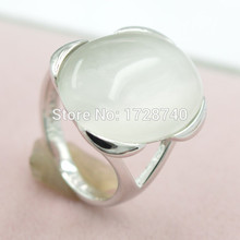Sz 6.5/7.5 Luxury 3CT Moonstone White Gold Filled Ring Women Wedding Band Ring  Free Shipping Jewelry Engagement  Ring