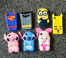 3D Cartoon Pokemons Pikachus Stitch Minion Minios Case Soft Silicone Back Cover For Iphone 4 4s Coque Capa funda for iphone4