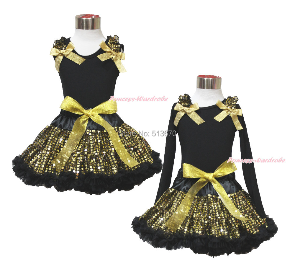 Easter Ruffle Bow Black Top Gold Bling Sequin Baby Girl Pettiskirt Outfit 1-8Y MAPSA0482<br>