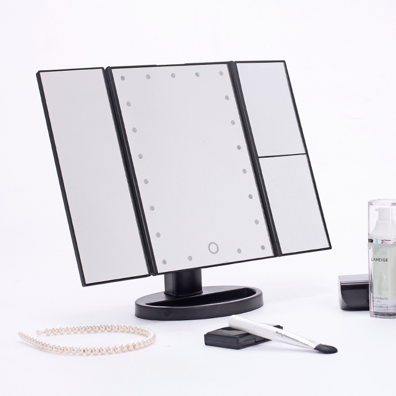 ZD 1pc Portable Three Folding Table LED Lamp Luminous Makeup Mirror Adjustable Cosmetic Lighting Mirror Mirroir maquillage CO860<br>