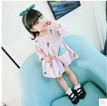 Baby Dresses 2017 New Autumn Baby Girls Clothes Cute Carrot Printing Princess Newborn Dress Suit For free delivery(China)