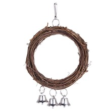 Rattan Bird Parrot Swing Ring Parrot Stand Holder Bird Parrot Toys Rattan Stands with 3 bells