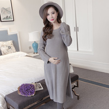 810# 2017 Autumn Winter Fashion Maternity Sweater Dress Side Splited Knitted Clothes for Pregnant Women Pregnancy Long Pullovers(China)