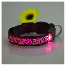 SZS Hot NEW Fashion Adjustable Dog Cat Puppy Pet LED Neck Strap Leopard Flashing Collar Light Safety Pink XL