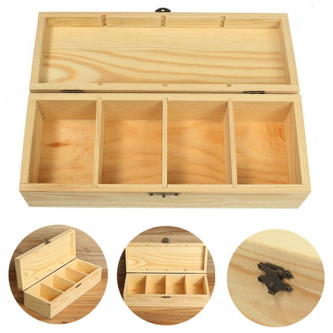 Vintage 4 Compartments Wooden Tea Box Jewelry Accessories Storage Container Pine Wood Tea Gift Store Box Case Container(China)
