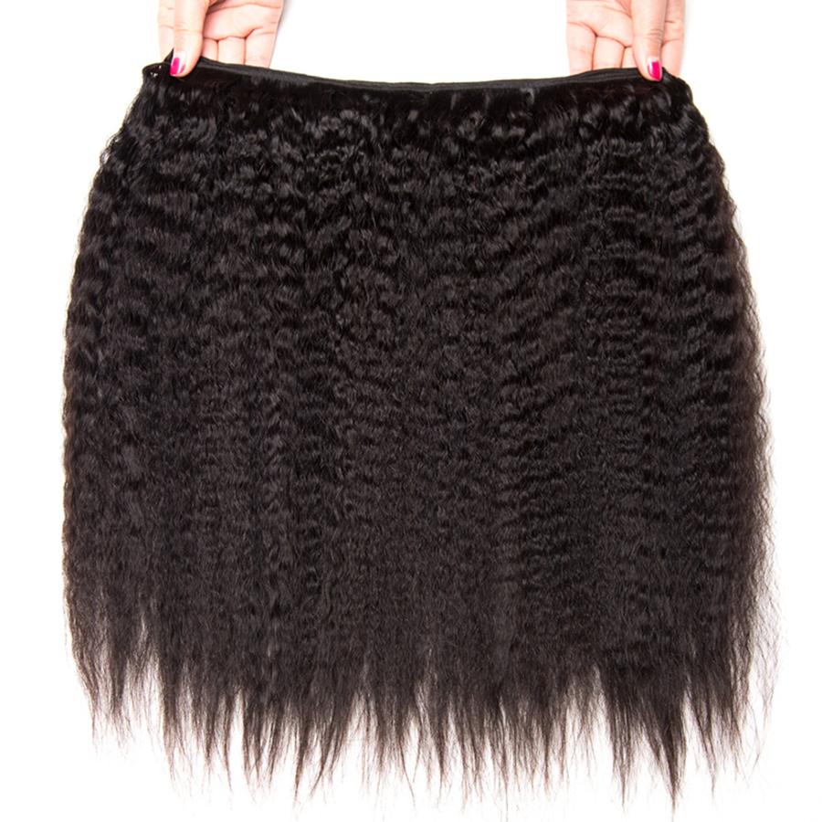 Peruvian Kinky Straight Hair Bundles Human Hair Bundles Non Remy Hair Extensions ALIPOP Natural Black Color Weave 1 Bundle (1)