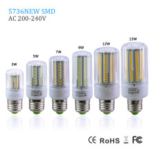 Full Power 3W 5W 7W 9W 12W 15W LED Corn Bulb lamp AC220V LED Spotlight E27 SMD5736 30/56/72/96/136/165LEDs Chandelier Light()