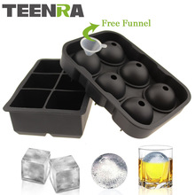 2PCS Frozen 6 Silicone Ice Ball 6 Square Ice Cube Trays Silicone Sphere Ice Mold Form Ball Maker Black TW-010