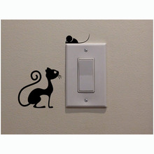 Cat And Mouse Switch Stickers Vinyl Living Room Kitchen Wall Stickers 2SS0064(China)