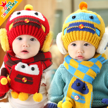 Boys Warm Knitted Hat Scarf Set Children New Winter Fashion Kids Boy Plaid Print 2 Pieces Sets Christmas Gift 8M to 36M(China)