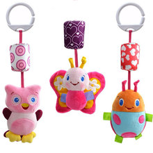 Baby Rattle Crib Baby Toys 0-12 Months Soft Plush Animals Owl Ladybug Butterfly Newborn Infant Stroller Bed Pram Toys For Babies(China)