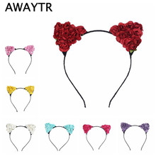 Children Girls Flower Cat Ears 2017 New Cute Hair Accessories Headwear Boho Style Children Cat Ears Hairband Headband for Party