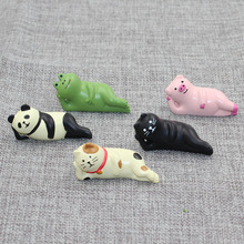Sleeping Cat Pig Panda Frog Miniature Figurine Wooden Craft Home decoration fairy garden animal statue Toy Figurine TNA165