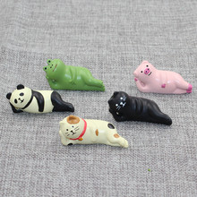 Sleeping Decole Cat Pig Panda Frog Miniature Figurine Craft Home decoration fairy garden animal statue Toy Figurine TNA165(China)