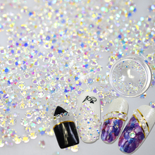 STZ Shiny 120PCS SS3 to ss10 Flatback/Octagonal Shape Nail Art Decorations Glitter Rhinestone 3d Clear Crystal AB Color NC395
