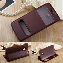KC HQ View window For HTC One Dual Sim Flip PU Leather Case for HTC One dual sim 802t 802w 802d Cover with Stand a