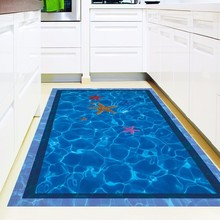 Creative 3D Swimming Pool Pattern Wall Sticker Self-adhesive Wallpaper Blue Sea And Starfish Floor Sticker Home Decor Wall Art