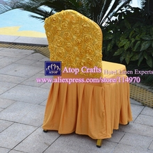50pcs Gold Elegant Elastic Lycra Rose Back Skirting Chair Covers Pleated Spandex Stretch Rosette Chair Covers For Wedding