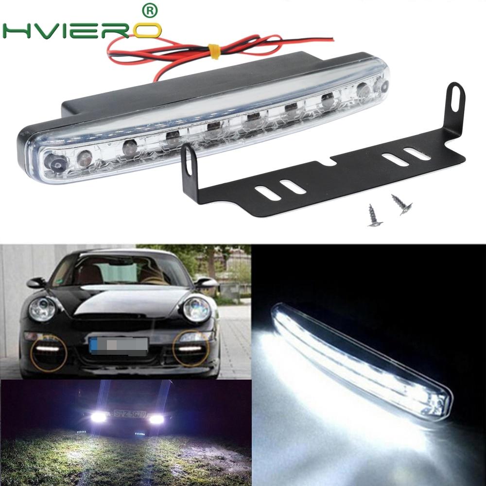 Hviero Car Led Daytime Running Light 8 LED DRL Daylight Light White Auto Durable DC 12V 24V Head Lamp HeadLight Parking Bulb Fog Lights