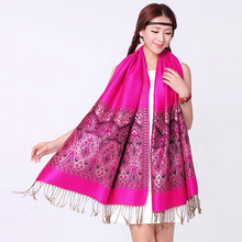 Cachecol Winter Warm Pashmina Scarf Shawl Wrap Women Double-Side Fancy Jacquard Paisley Scarves and Shawls Grape Echarpe Foulard(China)