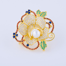 Elegant Micro Pave Zircon Crystal Flower Brooches For Wedding Bouquets Large CZ Costume Jewelry Brooches Beautiful Broches Mujer