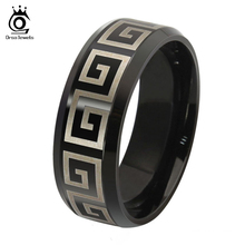 ORSA JEWELS New Style 8MM Stainless Steel Band Great Wall Pattern Party Lead & Nickel Free Solid Ring for Men Women OTR51