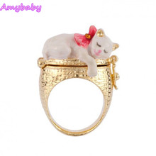 Amybaby France Paris Cats Spring Garden Collection Womens Les Nereides Wedding Ring Enamel Glaze jewelry(China)