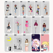Vestido da moda Shopping Girl Hard Case para huawei P6 P7 P8 P10 P9 Lite p8lite plus Honor 8 Lite 4C 4X6 7 G7 tampa do CASO