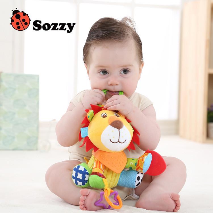 Sozzy Baby Animals Buddies Placate Activity Stuffed Plush Lion Dog Owl Elephant Monkey Teether Toy cm Multicolor Multifunction 1