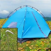 4pcs/set Aluminum Skidproof and Steady Metal Tent Pegs Stakes Hook Design Outdoor Camping Tent Nail  B2C Shop