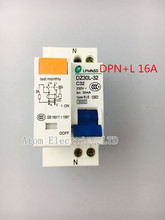DZ30LE -16A double wire earth leakage circuit breaker DPN mini household air switch Mcb RCBO(China)