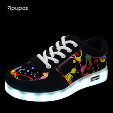 7ipupas Children Unisex Fashion Luminous Sneakers Graffiti Color LED Lights USB Charging Colorful Shoes Casual glowing Sneakers(China)