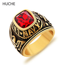 HUCHE 2016 Fashion Brand United States Navy Military Veteran Rings Eagle Carved Stainless Steel USN Finger Ring for Men ZBR088