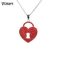 2017 Valentine's Day Gift for Children Women Key Red Heart Chain Necklace Crystal Heart Pendant Choker Necklace
