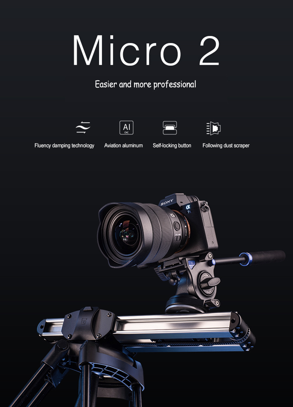 Portable Micro 2 Professional Camera Video Slider Travel Track Slider Dolly Track Rail for DSLR ARRI Mini RED BMCC  Iphone X 1