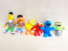 New 6pcs/set 15cm Sesame Street Elmo Doll Puppet Plush Toy Christmas Gift Free Shipping